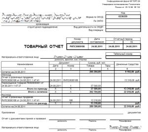 Образец заполнения товарного отчета формы ТОРГ - 29