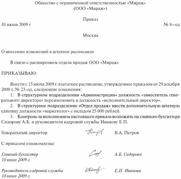 Приказ о переименовании должности в штатном расписании