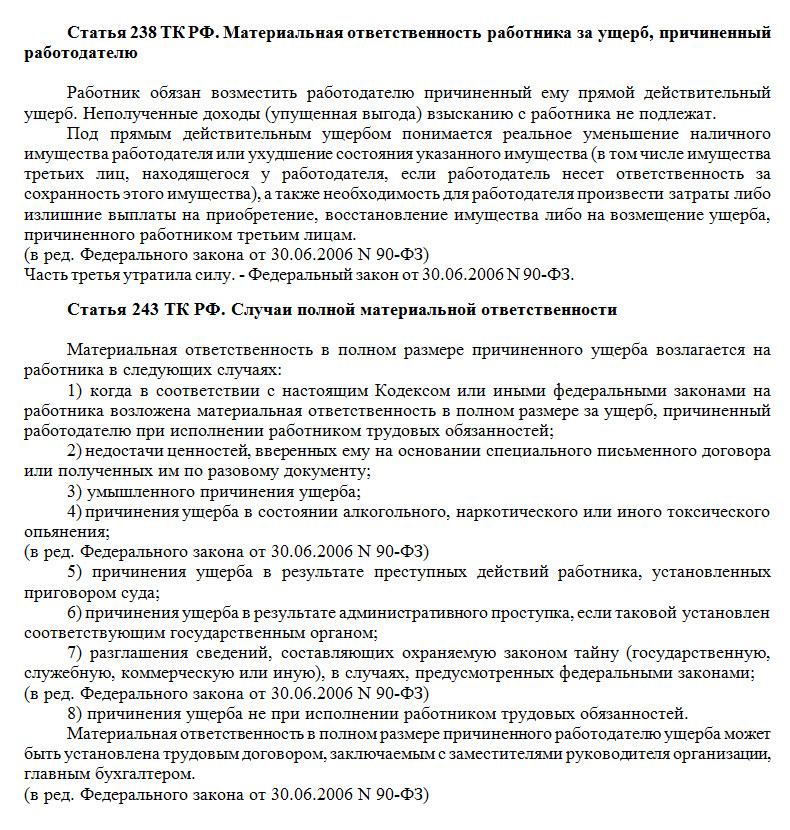 Статьи 238 ТК РФ и 243 ТК РФ