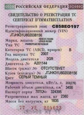 Свидетельство о регистрации машины