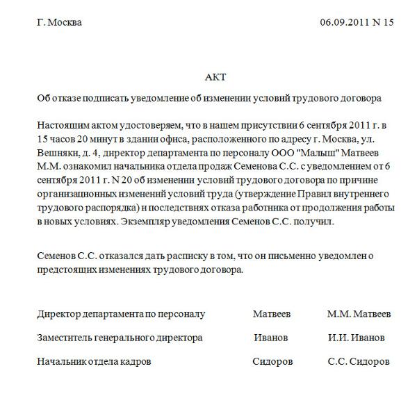 Пример акта об отказе подписать уведомление об изменении условий трудового договора