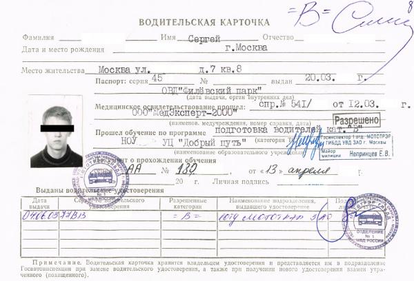 Пример личной карточки водителя для получения водительских прав